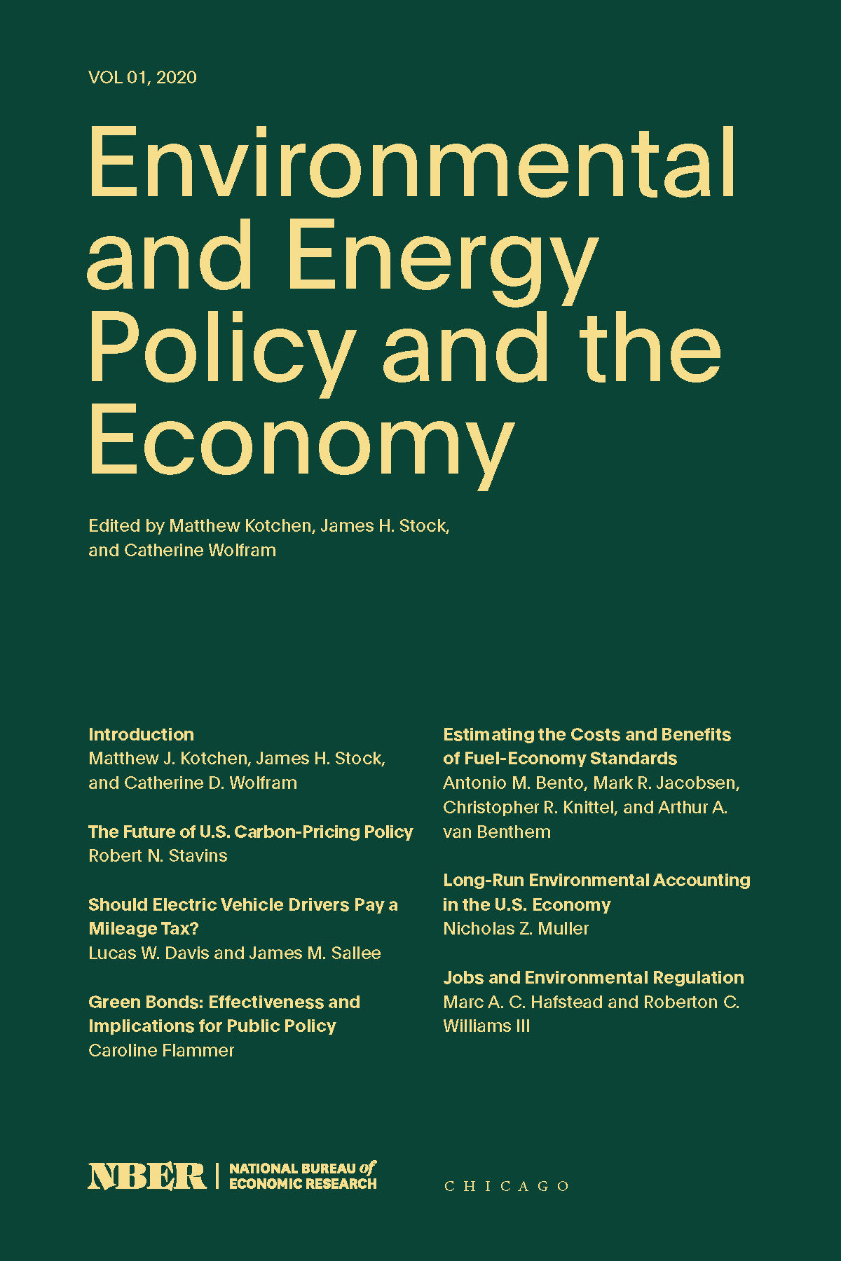 Environmental and Energy Policy and the Economy: Volume 1