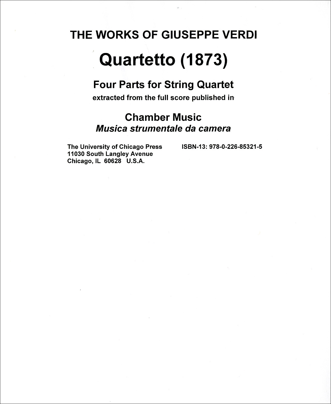 Quartetto: Four Parts for String Quartet