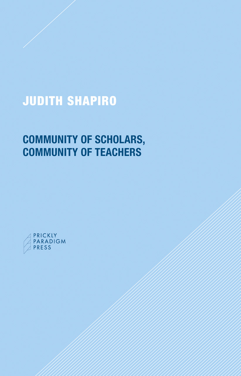 Community of Scholars, Community of Teachers