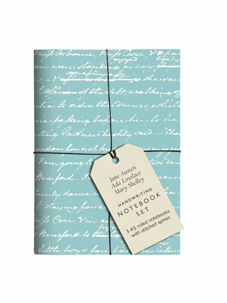 Jane Austen, Ada Lovelace, Mary Shelley Handwriting Notebook Set: 3 A5 Ruled Notebooks with Stitched Spines
