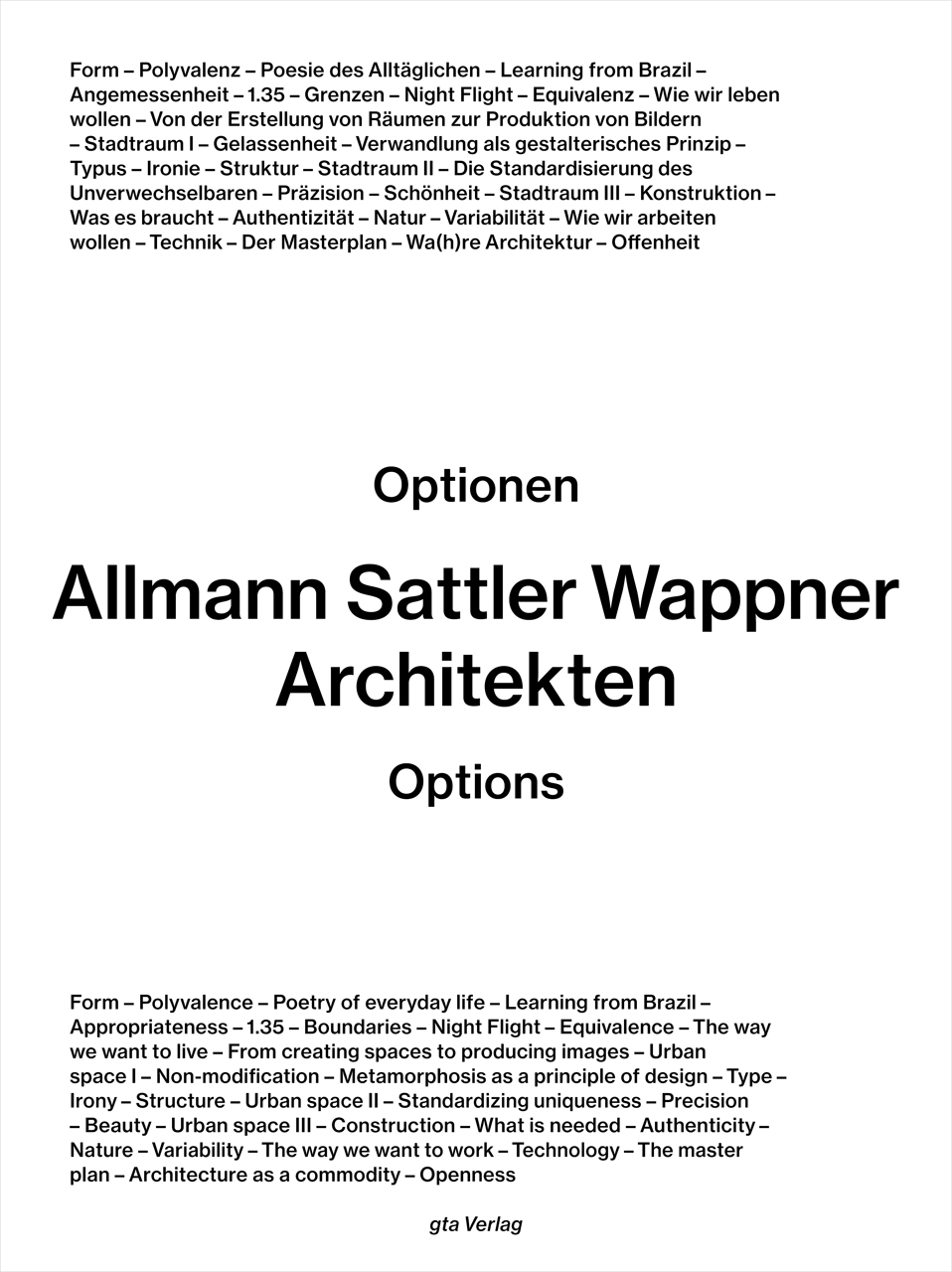 Allmann Sattler Wappner Architekten: Options