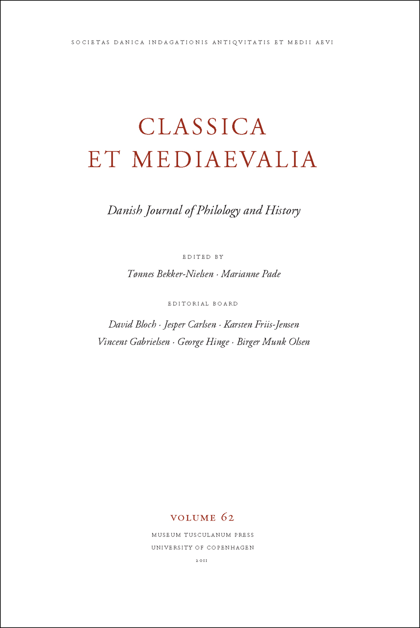 Classica et Mediaevalia Volume 62: Danish Journal of Philology and History