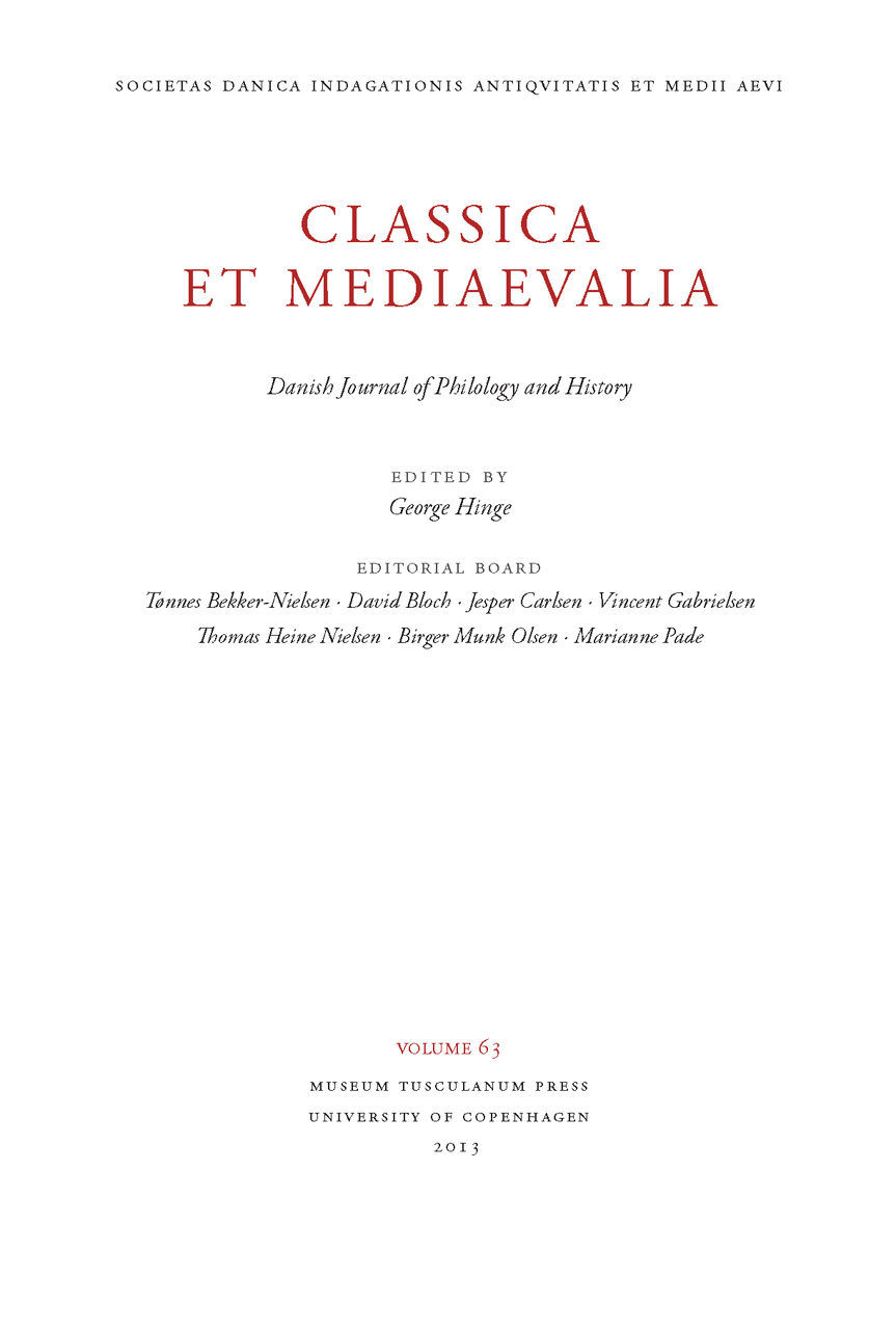 Classica et Mediaevalia 64: Danish Journal of Philology and History